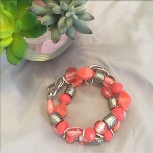 Jewelry - Beaded Bracelet in Pink/Coral/Silver Tone